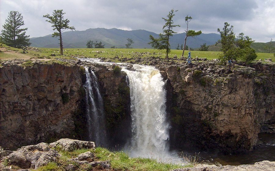 Waterfall Orkhon River Valley and yak herders