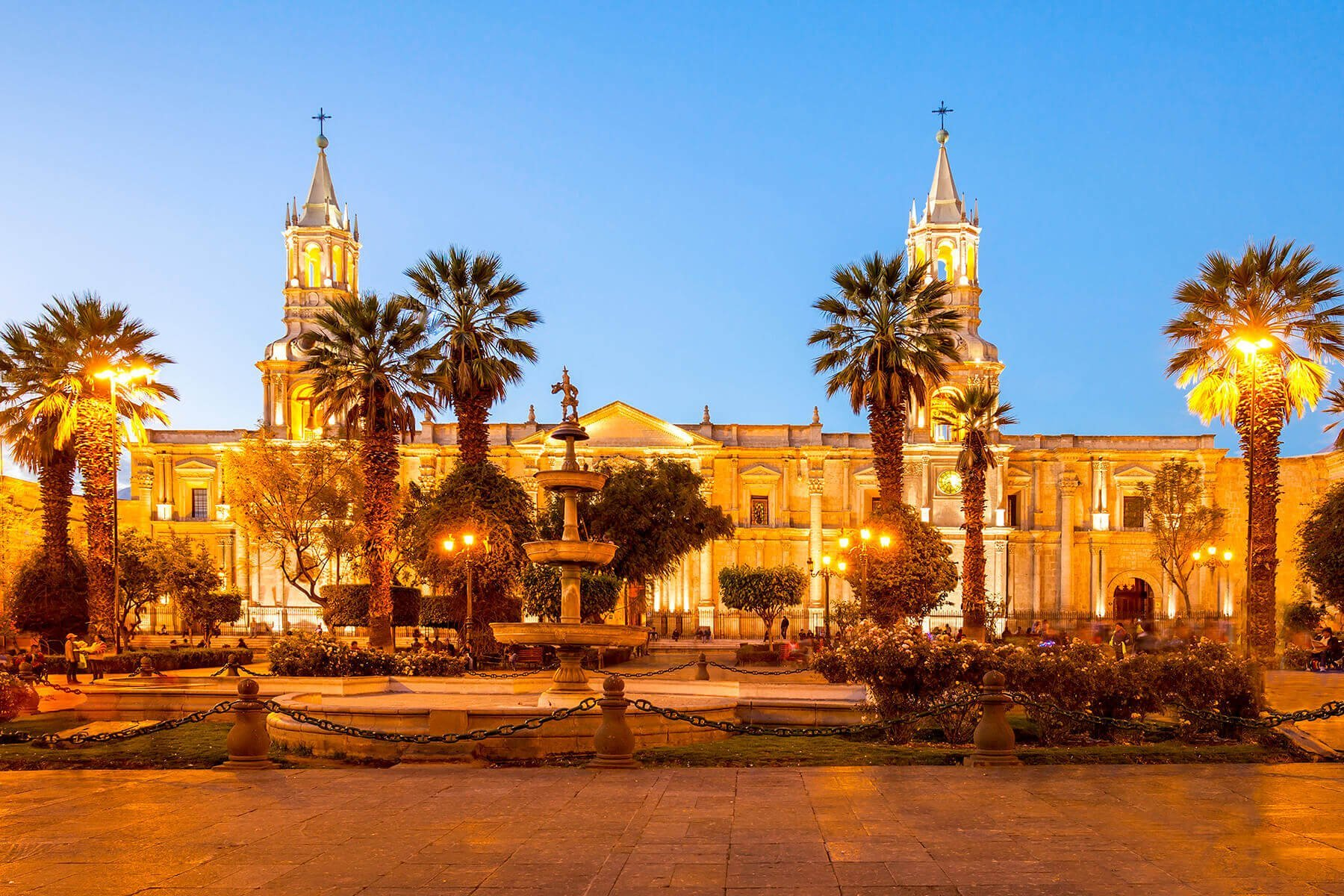 Arequipa - Plaza de Armas with its beautiful cathedral during sunset