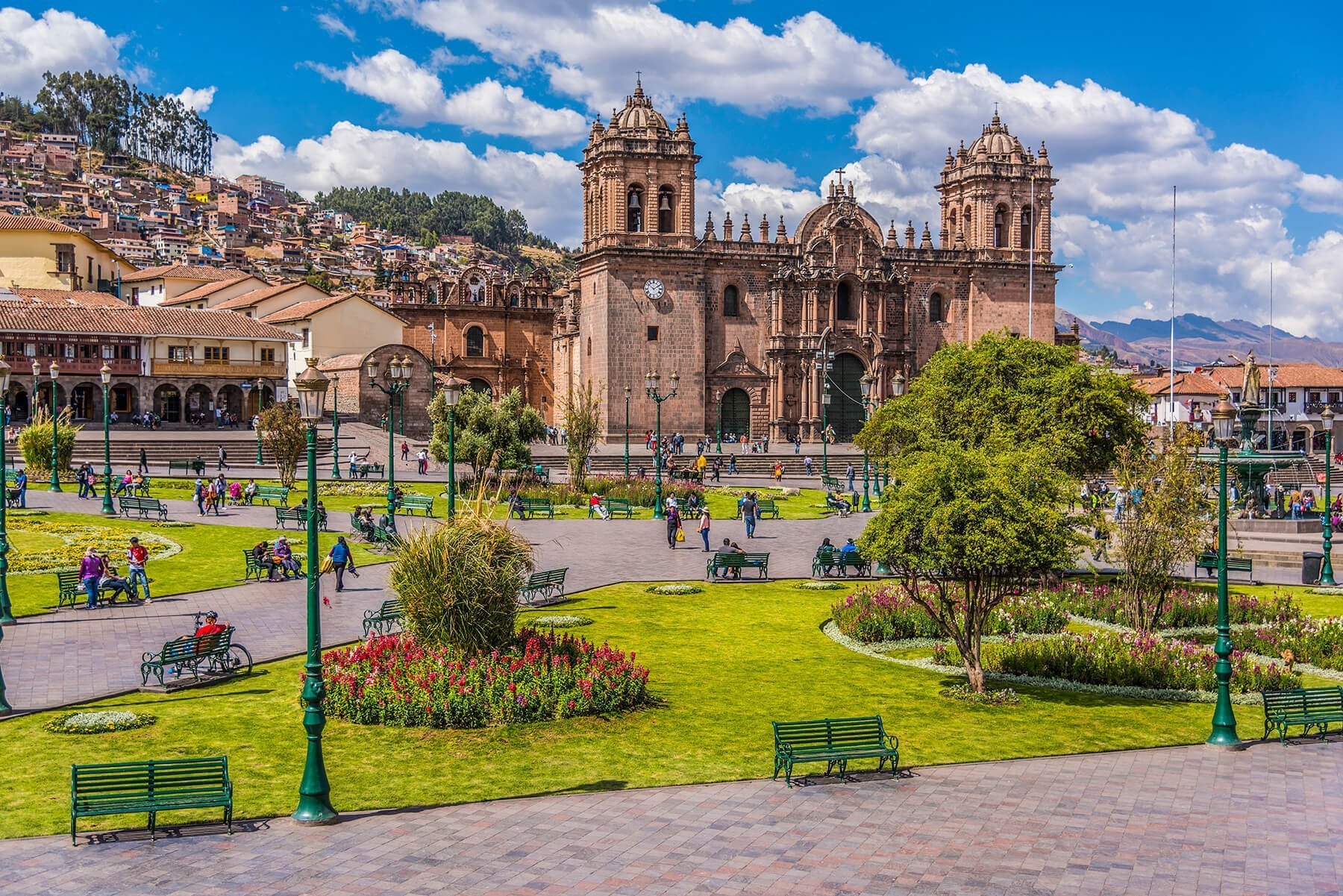 Main square in Cuzco with the impressive cathedral