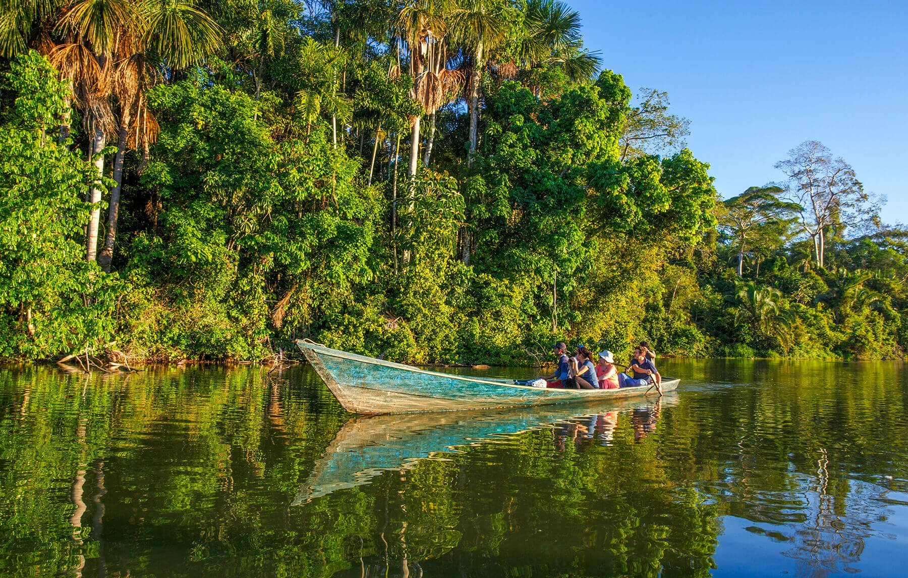 Boat trip in the Amazon at Tambopata National Reserve in Peru