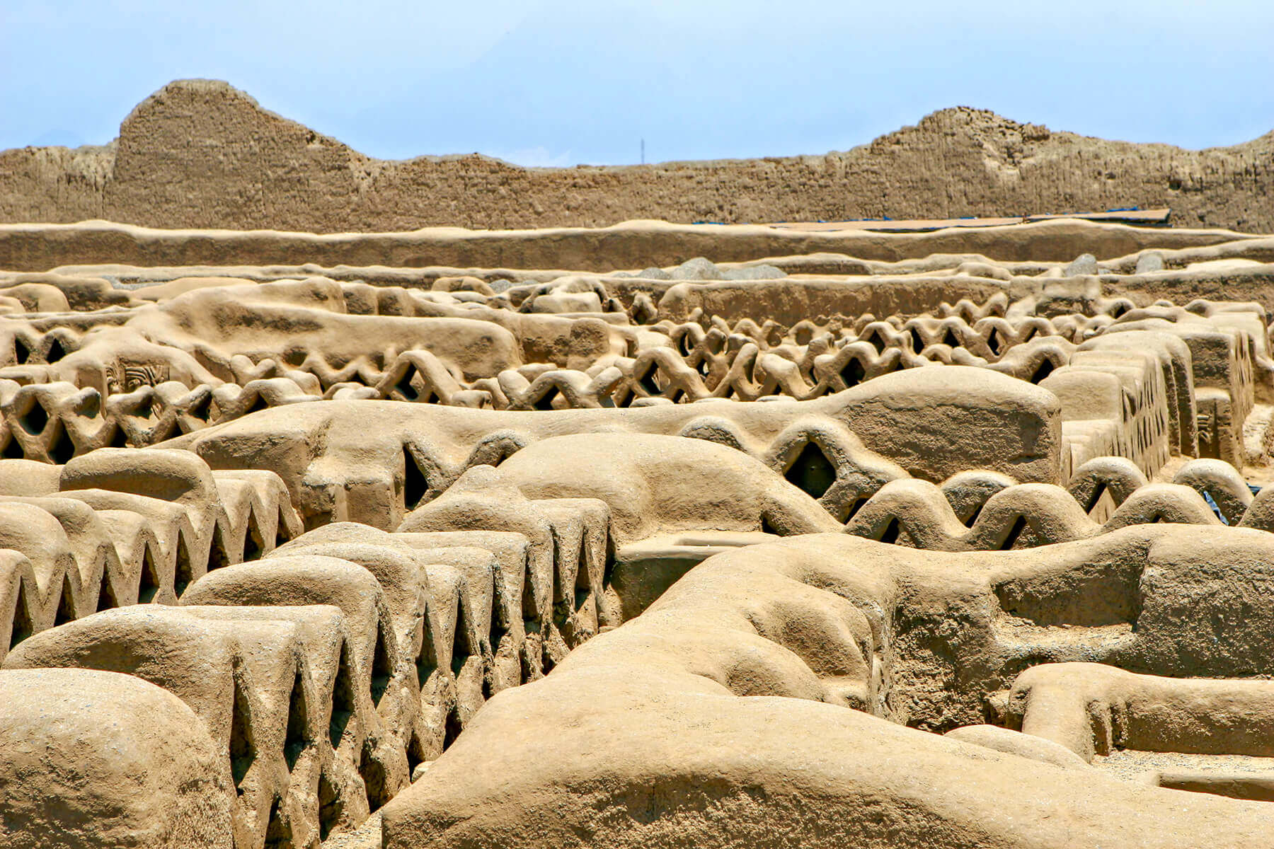 The Chan Chan ruins in Peru are the remains of the largest Pre-Columbian city in South America