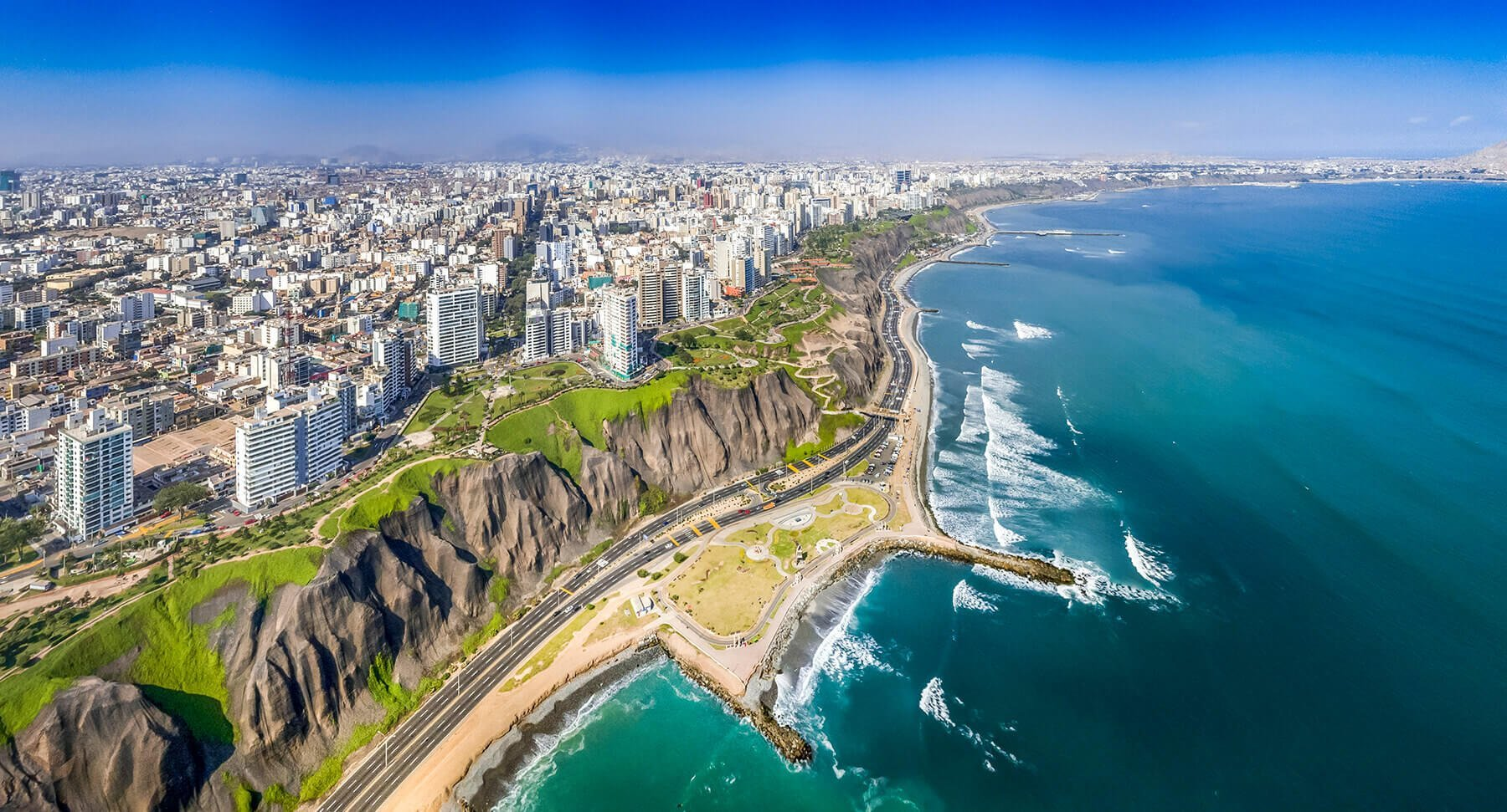 The Miraflores district in Lima with the Costa Verde highway along the ocean