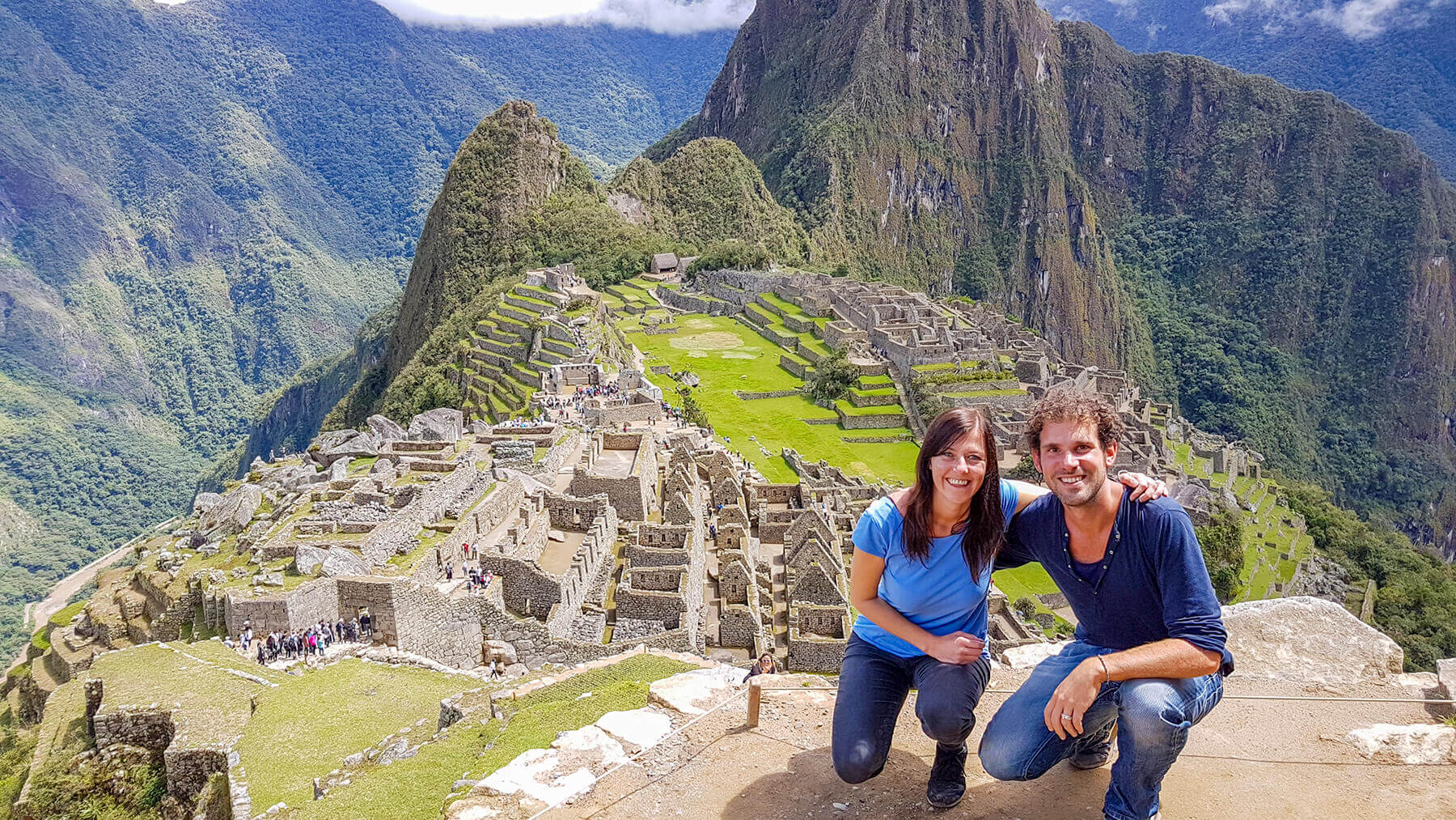 Monique and Ydwer at the most beautiful viewpoint of Machu Picchu in Peru
