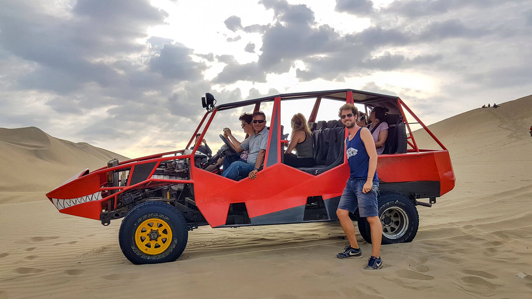 Ydwer next to our Sand Buggy in the dunes of Huacachina Peru