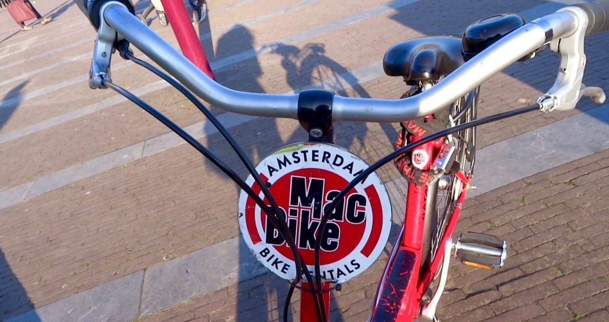 Cycling through the city of Amsterdam