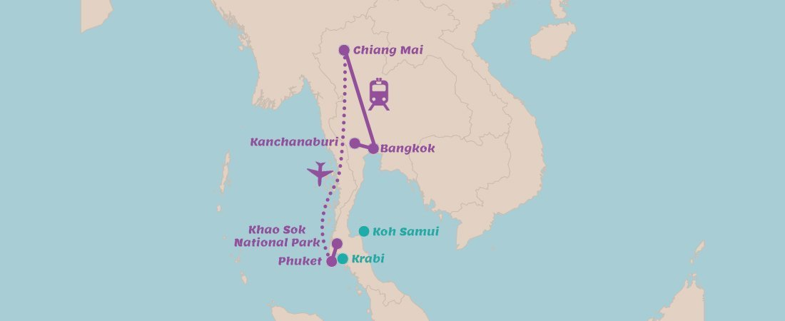 Travel route Thailand in 3 weeks